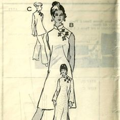 1970s Anne Adams 4761 Misses Oriental Dress Tunic and Pants womens vintage cheongsam sewing pattern by mbchills
