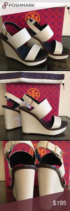 """Tory Burch Lexington Wedge Platform Tory Burch Lexington Wedge Platform Never worn  Double Banded Dulce De Leche  110mm Leather Wedge Sandals 4"""" covered heel; 1 inch platform Adjustable sling back strap Padded footbed  Leather lining and textured sole Tory Burch Shoes Wedges"""