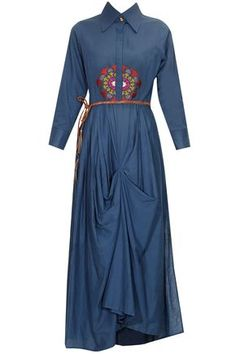 Navy blue thread embroidered motif draped shirt dress with brown leather belt available only at Pernia's Pop Up Shop.