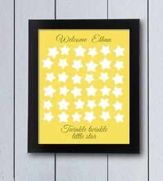 Cuadro de firmas, estrellita, twinkle little star. Ideal para nacimientos,cumpleaños infantiles, árbol de familia, decoración infantil, libro de bebé,