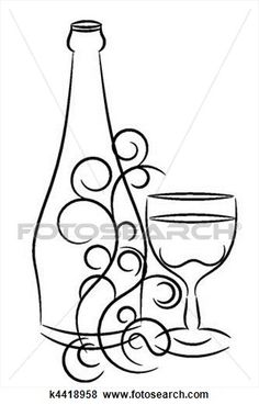 Stock Illustration of wine bottle and glass k4418958 - Search EPS ...