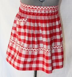 Vintage Red and White Checked Half Apron by ilovevintagestuff