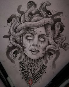 medusa tattoo by Achmad Rizal Effendi Tattoo Sketches, Tattoo Drawings, Body Art Tattoos, Hand Tattoos, Sleeve Tattoos, Medusa Drawing, Medusa Art, Aztec Drawing, Dark Art Tattoo