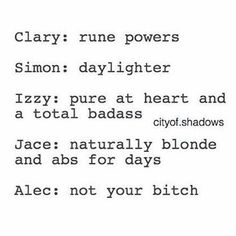 Shadowhunter powers   Clary Simon Isabelle Jace Alec