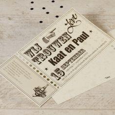 Ga helemaal voor retro en typografie met deze opvallende trouwkaart! Kondig jullie huwelijk aan en nodig familie en vrienden uit op het feest met de afscheurbare voucher aan de linkerzijde.Enkele kaartOpmaak met verschillende lettertypesBlink uit in