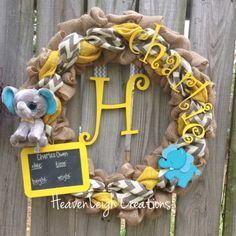 Yellow and gray chevron burlap wreath with elephants, chalkboard, and last name initial for baby boy
