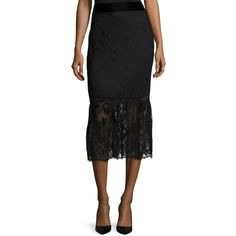 ABS by Allen Schwartz Women's Lace Scalloped Mermaid Skirt - Black,... ($109) ❤ liked on Polyvore featuring skirts, black, abs by allen schwartz, scalloped lace skirt, scallop hem skirt, panel skirt and lace skirt