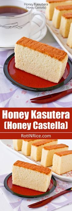 Honey Kasutera (Honey Castella) - fine textured Japanese sponge cake raised solely by egg foam. Only 4 ingredients - eggs, sugar, bread flour, and honey. | RotiNRice.com