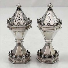 English Gothic sterling ghallmarked salt and pepper shakers