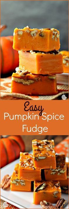 I make my regular wonderful fudge this same way except use Milk Chocolate Chips instead of Pumpkin spice.the chocolate fudge is always perfect, and this recipe sounds interesting.This says: Easy Pumpkin Spice Pecan Fudge Mini Desserts, Fall Desserts, Just Desserts, Delicious Desserts, Yummy Food, Thanksgiving Desserts, Fudge Recipes, Candy Recipes, Sweet Recipes