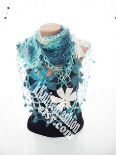 SHAWL Handmade Turquoise Flower Mohair Triangle by nilgunshop