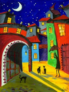 "Original Large Painting OFF - ""Black Cats- Night Serenade"" - Acrylic Contemporary Art - By Elizabeth Lisa on ArtonlineGallery. Large Painting, Painting & Drawing, Tile Painting, Modern Art, Contemporary Art, Illustration Art, Illustrations, Arte Popular, Naive Art"