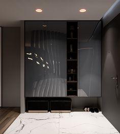 Flat on Behance Kitchen Room Design, Home Room Design, Home Interior Design, House Design, Entrance Hall Decor, Bedroom False Ceiling Design, Wardrobe Design Bedroom, Inspiration Design, Cuisines Design