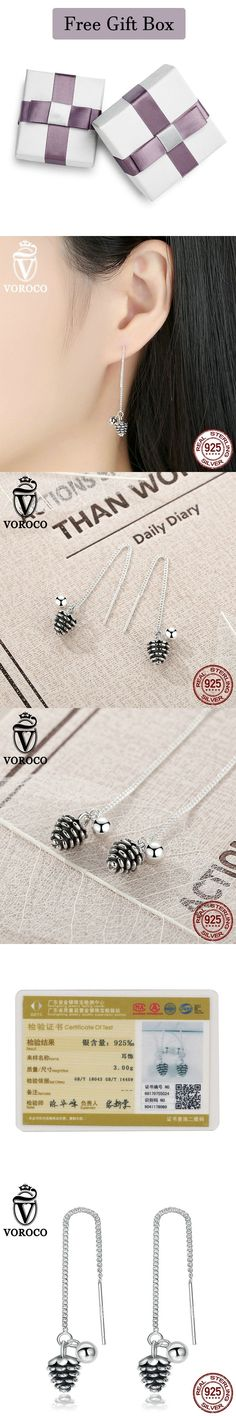 Adorable Pinecone Genuine 925 Sterling Silver Simple Ethnic Style Pine Nuts Long Drop Earrings Jewlery Gift VOROCO