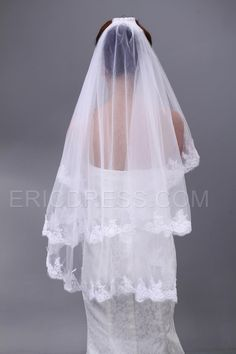 Elegant Applique Tulle Wedding Bridal Veil Fingertip Veils- ericdress.com 10497740