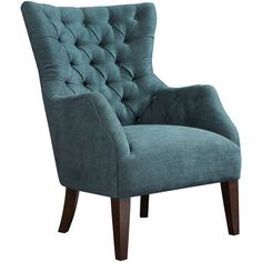 Izzy Button-Tufted Wingback Chair (2,430 SAR) ❤ liked on Polyvore featuring home, furniture, chairs, accent chairs and button tufted chair