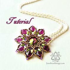 Passionflower Pendant .pdf Tutorial, with SuperDuo Beads, Crystal Rivoli and Silky Beads. Beading Pattern, Beadwork,