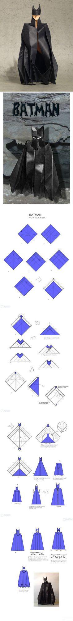 [Tutorial] Origami Batman, nicht viele Schritte, wie die Eltern können versuchen ~