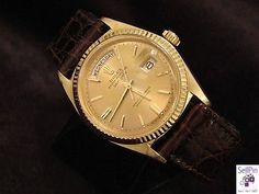 $5,299.99: MENS 18K GOLD ROLEX DAY DATE PRESIDENT WATCH w/LEATHER
