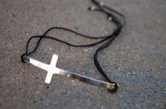 Curved Side Cross Bracelet Gold Sliding Knot by StringofLove, $13.00