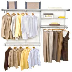 Neatly organize your walk in closet or wardrobe any way you want with the versatile freedomRail Closet Storage System.