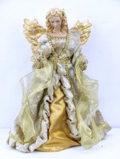 "Amazon.com: 12"" Champagne Coat Angel Tree Topper with Gold Wings: Home & Kitchen"