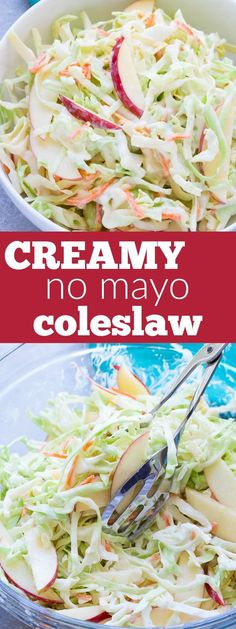 A creamy no mayo coleslaw made with Greek yogurt. This healthier coleslaw comes together in minutes and you'll love the addition of the sweet apple! | www.kristineskitchenblog.com