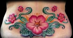 Lower Back Cherry Blossoms Tattoo - Christian Perez http://tattoosflower.com/lower-back-cherry-blossoms-tattoo-christian-perez/