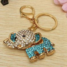 Rhinestone Elephant Keychain Metal Charm Pendant Purse Bag Key Ring