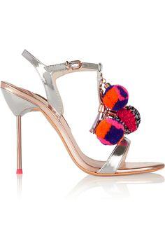 Sophia Webster Layla Pom Pom embellished metallic leather sandals(=)