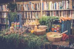Buffet vegano Boda en El Siglo, Mercantic - Catering l'Empordà - #wedding #boda #catering #dipear #vegano #cateringlemporda #libreria #bohemia