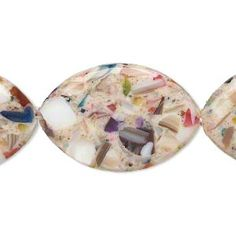 Bead, mother-of-pearl shell and resin (assembled), opaque tan and multicolored, 30x20mm-31x21mm puffed marquise. Sold per 15-inch strand.