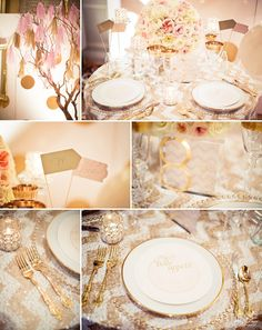 blush and gold wedding theme  #sequin #chevron     Wedluxe Wedding Show at Fairmont Royal York | photo by artiesestudios.com