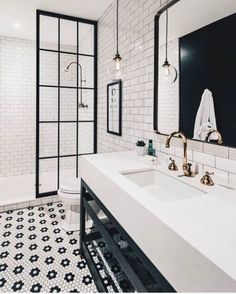 Jorie Martin saved to home Awesome Black And White Subway Tiles Bathroom Design Creative Industrial Bathroom Renovation Ideas To Nail Your Home Bathroom Tile Designs, Bathroom Interior Design, Home Interior, Tiled Bathrooms, Bathroom Layout, Bathroom Mirrors, Shower Designs, Bathroom Furniture, Victorian Tiles Bathroom