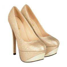 Pantofi Dama Brilliant Nud  -Pantofi dama eleganti  -Detaliu insertie fina cu lame  -Toc stiletto 15cm  -Platforma 4,5cm Peep Toe, Heels, Fashion, Elegant, Heel, Moda, Fashion Styles, High Heel, Fashion Illustrations