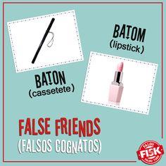 """Não confunda! Baton, em inglês, significa """"cassetete""""; caso queira falar do batom, item de beleza tão amado pelas mulheres, utilize """"lipstick"""" #DicaFisk #FalseFriend"""