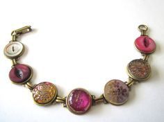HOT PINK antique button bracelet, intricate glass & shell buttons
