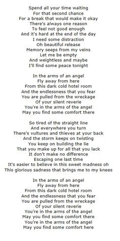 'Angel' lyrics - Sarah McLachlan.  So beautiful and moving.
