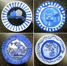 Chinese porcelain project...I just did a similar one but we drew vases and painted blue designs on them.