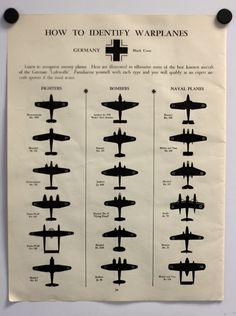 1942 WWII Warplane Identification Chart German and by inpress