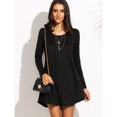 Black Round Neck Long Sleeve Shift Dress ($9.99) ❤ liked on Polyvore featuring dresses, black, embellished dress, a line dress, embellished shift dress, long sleeve a line dress and short dresses