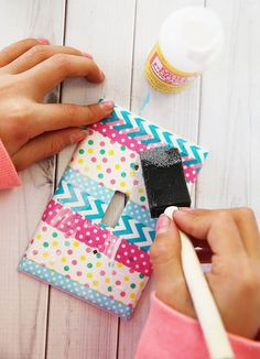 DIY washi tape light switch cover using Mod Podge by Michaels Makers Skip to my Lou