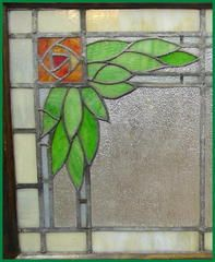 Voorhees Craftsman Mission Oak Furniture - Large Vintage Arts & Crafts Stained Glass Window with Mackintosh Style Roses Antique Stained Glass Windows, Making Stained Glass, Stained Glass Flowers, Stained Glass Designs, Stained Glass Panels, Stained Glass Projects, Stained Glass Patterns, Leaded Glass, Stained Glass Art
