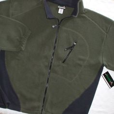 """Avalanche Performance Fleece Jacket Full Zipper Front Layer Top Olive Black 