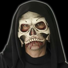 Half Skull Mask is a pre-painted latex mask. This pull over the head mask is a Zagone Studios piece that has the mouth area left exposed for comfort and full expression. Wear this all night, eat, drin