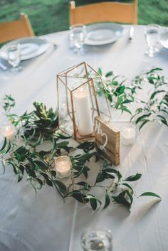 gold and green wedding table numbers, spring wedding ideas, geometric wedding elements Table Decoration Wedding, Modern Wedding Centerpieces, Wedding Table Numbers, Simple Wedding Decorations, Wedding Tables, Ceremony Decorations, Terrarium Centerpiece, Greenery Centerpiece, Flower Centerpieces