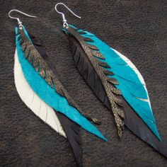 Leather Feather Earrings turquoise brown by CyclonaDesigns