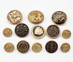 Vintage Buttons | Vintage Metal Antique Gold Crest / Nautical Buttons | Flickr - Photo ...