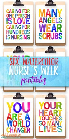 These Six Nurses Week Printables are just in time for celebrating some of our favorite healthcare workers. These make fantastic and inspiring gifts.or even decor in a common area for Nurses Appreciation Week.