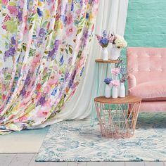 Joie De Vivre by bluebellgray – James Dunlop Textiles Purple Curtains, Cheap Curtains, Drop Cloth Curtains, Burlap Curtains, Floral Curtains, How To Make Curtains, Colorful Curtains, Hanging Curtains, Curtains 2018